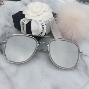 Accessories - Silver Mirrored Square Aviator Sunglasses